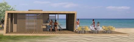 Projekt architektoniczny pawilonu przy plaży
